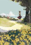 1girl black_skirt blue_sky building clouds cloudy_sky flower from_behind grass hat hat_ribbon highres holding joze long_sleeves original outdoors path ribbon shirt skirt sky solo tree white_headwear white_shirt yellow_flower