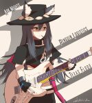 1girl album_cover animal_ears arknights black_hair character_name commentary cover cowboy_hat english_commentary english_text fingerless_gloves food food_in_mouth gloves guitar hat highres instrument namesake parody penguin_logistics_(arknights) pocky pun shinkuro_sanagi solo stevie_ray_vaughan strap_slip texas_(arknights) wolf_ears yellow_eyes