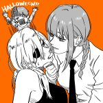3girls bangs bare_shoulders black_eyepatch black_eyes black_neckwear black_shirt blush braid braided_ponytail brain breasts business_suit chainsaw_man collared_shirt cosmo_(chainsaw_man) couple demon_girl eyelashes finger_in_another's_mouth formal hair_between_eyes halloween hand_on_another's_chin head_tilt heart heart-shaped_pupils highres long_hair long_sleeves makima_(chainsaw_man) medium_breasts monochrome multiple_girls necktie office_lady open_mouth orange_background ponytail quanxi_(chainsaw_man) ringed_eyes romance shirt shouting sleeveless sleeveless_shirt smalltung suit symbol-shaped_pupils tank_top white_shirt wife_and_wife yuri