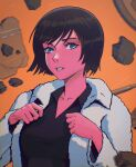 1girl black_shirt breasts character_request copyright_request grey_eyes highres jacket large_breasts lem looking_at_viewer orange_background parted_lips shirt short_hair solo white_jacket