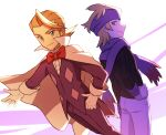 2boys absurdres bangs black_sweater blonde_hair bow bowtie cape closed_mouth commentary_request eusine_(pokemon) gloves gym_leader hand_on_hip headband highres jacket lobolobo2010 looking_back male_focus morty_(pokemon) multiple_boys pants pokemon pokemon_(game) pokemon_hgss purple_headband purple_jacket purple_pants purple_scarf red_neckwear scarf smile sweater white_cape white_gloves white_pants