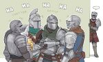 +++ ... 5others ambiguous_gender armor ashen_one_(dark_souls_3) bearer_of_the_curse breastplate chosen_undead commentary covered_face crossed_arms dark_souls dark_souls_ii dark_souls_iii emlan english_commentary english_text estus_flask gauntlets helmet holding laughing metal_boots multiple_others pauldrons peeking_out shoulder_armor souls_(from_software) spoken_ellipsis