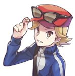 1boy alternate_hair_color bag blonde_hair blue_jacket brown_eyes calem_(pokemon) commentary_request eyewear_on_headwear fingernails hand_on_headwear hat jacket lobolobo2010 male_focus parted_lips pokemon pokemon_(game) pokemon_xy red_headwear shoulder_bag simple_background smile solo sunglasses white_background