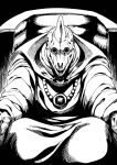 1boy baramos dragon_quest dragon_quest_iii highres horror_(theme) looking_at_viewer monochrome monster no_humans sitting solo tukiwani