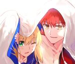 1boy 1girl appleale19 artoria_pendragon_(all) blonde_hair emiya_shirou face fate/grand_order fate/stay_night fate_(series) green_eyes korean_commentary limited/zero_over master_artoria one_eye_closed redhead role_reversal saber sengo_muramasa_(fate) smile under_covers what_if yellow_eyes