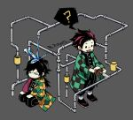 2boys =_= ? checkered chibi commentary grey_background highres isometric japanese_clothes kamado_tanjirou kimetsu_no_yaiba long_hair multiple_boys no_mouth open_mouth patient_zero pipes ponytail seiza simple_background sitting smile solid_circle_eyes spoken_question_mark symbol_commentary tomioka_giyuu twitter_username valve water