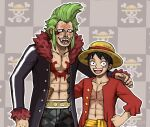 2boys :d bartolomeo belt black_hair blush chest_scar coat commentary embarrassed emlan english_commentary fangs green_hair grey_coat hand_on_hip hat height_difference hover_hand long_sleeves looking_at_viewer monkey_d_luffy multiple_boys navel nose_piercing nose_ring one_piece open_clothes open_coat open_mouth pants piercing sanpaku sash scar sharp_teeth shirtless skull_and_crossbones smile straw_hat teeth upper_teeth