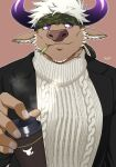 1boy alternate_costume animal_ears bara black_jacket camouflage chest coffee cow_boy cow_ears cow_horns cup disposable_cup formal furry headband highres horns jacket male_focus muscle purple_horns shennong_(tokyo_afterschool_summoners) short_hair sideburns solo sweater tokyo_houkago_summoners upper_body violet_eyes white_hair yanai_inaya