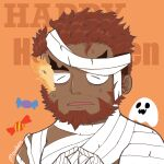1boy bandages beard candy chest chibi facial_hair fidgeting flaming_eye food halloween halloween_costume happy_halloween hephaestus_(tokyo_houkago_summoners) highres index_fingers_together male_focus mummy_costume muscle naked_bandage nervous robinmouben short_hair solo thick_eyebrows tokyo_houkago_summoners upper_body