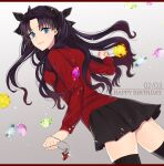 1girl black_bow black_hair black_legwear black_skirt blue_eyes bow closed_mouth cowboy_shot dutch_angle fate/stay_night fate_(series) floating_hair from_side gem gradient gradient_background grey_background hair_bow happy_birthday heart_pendant highres jewelry long_hair long_sleeves looking_at_viewer miniskirt pendant pleated_skirt red_shirt shimatori_(sanyyyy) shiny shiny_hair shirt skirt smile solo thigh-highs tohsaka_rin twintails very_long_hair