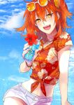 1girl :d bangs belt belt_buckle blue_sky buckle clouds cup eyebrows_visible_through_hair eyewear_on_head fate/grand_order fate_(series) flower fujimaru_ritsuka_(female) hair_between_eyes hair_ornament hair_scrunchie hawaiian_shirt hibiscus highres holding holding_cup jewelry long_hair midriff open_mouth orange-tinted_eyewear orange_hair pendant print_shirt red_flower red_shirt scrunchie shiny shiny_hair shirt short_shorts short_sleeves shorts side_ponytail sky smile solo stomach suki201mha sunglasses tied_shirt white-framed_eyewear white_belt white_shorts yellow_eyes yellow_scrunchie