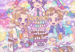 1girl 2020 2boys aqua_shirt black_hair blue_eyes blush brown_hair cake character_name closed_eyes clouds code_geass collared_shirt crazy_straw drink drinking_straw english_text food green_neckwear hama_cheese hand_on_another's_head happy_birthday heart_straw lelouch_lamperouge long_hair long_sleeves multiple_boys necktie nunnally_lamperouge open_mouth paper_chain pink_eyes pink_shirt plate rainbow_order rolo_lamperouge sandwich shirt short_hair smile upper_body white_shirt