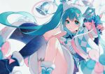 1girl aqua_hair bell bell_collar blue_gloves blue_legwear bow collar fur_trim gloves hair_bow hair_ornament hairclip hand_on_own_face hatsune_miku headphones heridy long_hair looking_at_viewer microphone multicolored multicolored_bow multicolored_ribbon pink_bow pink_gloves pink_ribbon ribbon shirt simple_background single_thighhigh skirt sleeveless sleeveless_shirt solo thigh-highs twintails v very_long_hair vocaloid white_background