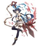 1girl alice_(sinoalice) ankle_boots armlet boots chain dark_blue_hair elbow_gloves full_body gloves hairband high_heel_boots high_heels ji_no looking_at_viewer navel necktie official_art pocket_watch polearm red_eyes short_hair short_shorts shorts sinoalice solo suspenders tattoo thigh_strap transparent_background trident watch weapon