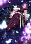 1girl absurdres arm_up black_legwear blurry_foreground bug butterfly butterfly_hair_ornament butterfly_on_hand cherry_blossoms from_above hair_intakes hair_ornament haori highres huge_filesize insect jacket japanese_clothes kimetsu_no_yaiba kochou_shinobu kuroko_(uver-world1009) long_sleeves lying no_pupils on_back pants purple_hair purple_jacket purple_pants sheath short_hair solo tabi violet_eyes water_surface