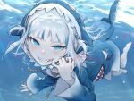 1girl animal_hood bare_legs barefoot blood blue_eyes blue_hair blue_hoodie commentary fangs fish_tail full_body gawr_gura grin highres hololive hololive_english hood hoodie long_sleeves looking_at_viewer medium_hair multicolored_hair rabbitioli shark_hood shark_tail sharp_teeth short_twintails silver_hair smile solo streaked_hair swimming symbol_commentary tail teeth twintails two-tone_hair underwater virtual_youtuber