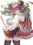 1girl ahoge black_legwear dragon_girl dragon_horns dragon_tail dragon_wings eyebrows_visible_through_hair fire from_behind granblue_fantasy grea_(shingeki_no_bahamut) highres horns long_sleeves looking_at_viewer looking_back mohurine_cute plaid plaid_skirt pointy_ears red_eyes red_skirt redhead shingeki_no_bahamut shirt short_hair skirt smile solo tail thigh-highs thighs white_shirt wings zettai_ryouiki