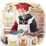 1boy animal_ears apron artist_request basket blue_sky blush bowl bread carpet character_request clouds commentary_request company_name copyright_name couch curtains dated day eighth_note final_fantasy final_fantasy_xiv food frilled_apron frills hair_between_eyes holding indoors jar lettuce light_smile male_focus multicolored_hair musical_note object_request official_art plate red_eyes redhead sandwich shelf short_hair short_sleeves signature sky smile solo steam tomato white_hair
