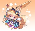 1girl animal_ear_fluff animal_ears bangs black_headwear black_jacket blush brown_background brown_hair chibi commentary_request dress eyebrows_visible_through_hair fang floral_background flower_knight_girl fox_ears fox_girl fox_tail full_body gradient gradient_background hair_between_eyes hairband hat highres jacket kitsune kitsune_no_botan_(flower_knight_girl) long_hair long_sleeves milkpanda mini_hat multiple_tails open_clothes open_jacket parted_lips puffy_long_sleeves puffy_sleeves red_eyes sleeves_past_wrists solo sword tail tilted_headwear two_tails very_long_hair weapon white_background white_dress yellow_hairband