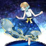 1girl aqua_footwear blue_ribbon bow closed_eyes commentary_request dress eyelashes flowing_dress hair_ornament holding holding_clothes holding_dress kanimaru light_brown_hair neck_ribbon pokemon pokemon_(anime) pokemon_xy_(anime) ribbon serena_(pokemon) shoes short_hair skirt sleeveless solo sparkle standing star_(symbol) yellow_bow