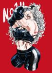 1girl arms_up black_bra black_gloves black_pants bra breasts cowboy_shot cropped_legs dorohedoro earrings elbow_gloves gloves halftone holding holding_hair jewelry kaitennsiki large_breasts long_hair midriff muscle muscular_female noi_(dorohedoro) pants red_background red_eyes simple_background solo underwear white_hair