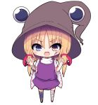 1girl ankle_wrap arm_wrap asymmetrical_legwear asymmetrical_sleeves bandages bat blonde_hair blood bloody_clothes blue_eyes brown_eyes brown_headwear chibi claw_pose commentary_request darumoon eyebrows_visible_through_hair fang hair_ribbon halloween halloween_costume hat heart heterochromia highres looking_at_viewer moriya_suwako open_mouth purple_skirt purple_vest ribbon short_hair_with_long_locks simple_background single_thighhigh skin_fang skirt solo spider_web_print thigh-highs touhou vest white_background white_sleeves wide_sleeves