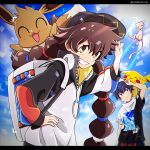 1boy 1girl backpack bag bangs baseball_cap black_headwear brown_eyes brown_hair closed_mouth clouds commentary_request day eevee eyelashes gen_1_pokemon gotcha! gotcha!_boy_(pokemon) gotcha!_girl_(pokemon) hair_tie hand_on_hip hat highres long_sleeves mew mythical_pokemon namigon outdoors pikachu pokemon pokemon_(creature) short_sleeves sky smile teeth tied_hair twintails viewfinder zipper