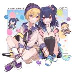 2girls backpack bag balloon beanie black_legwear blonde_hair blue_background blue_nails blue_skirt bookmark bow bracelet character_doll chiri_(ch!) commentary confetti crossed_legs english_text facial_tattoo frilled_skirt frills full_body gradient gradient_background hair_bow hair_ornament hairclip hashtag hat heart idolmaster idolmaster_shiny_colors jewelry kneehighs knees_to_chest long_sleeves looking_at_viewer morino_rinze multiple_girls nail_polish necklace necktie one_side_up open_mouth pink_backpack pink_eyes polka_dot polka_dot_background purple_footwear purple_hair purple_headwear purple_neckwear red_eyes saijou_juri shoes short_hair side-by-side sitting skirt smile sneakers socks star_tattoo striped striped_bow striped_neckwear tattoo v white_background white_footwear white_legwear windowboxed yellow_backpack yellow_neckwear