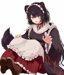 1girl :d animal_ears black_hair claw_pose commentary_request dog_ears fang heterochromia highres inui_toko long_hair looking_at_viewer maid_headdress mochidash nijisanji open_mouth red_eyes simple_background sitting smile solo virtual_youtuber wa_maid white_background wide_sleeves yellow_eyes