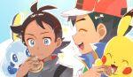 2boys :d antenna_hair ash_ketchum bangs baseball_cap blue_eyes blush brown_hair chitozen_(pri_zen) closed_mouth commentary_request eyelashes feeding gen_1_pokemon gen_8_pokemon goh_(pokemon) hand_up hat holding jacket male_focus multiple_boys open_mouth pikachu pokemon pokemon_(anime) pokemon_(creature) pokemon_swsh_(anime) shirt smile sobble sparkle starter_pokemon teeth tongue white_shirt