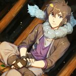 1boy alain_(pokemon) artist_name bangs black_footwear black_hair boots bracelet closed_mouth commentary_request crossed_legs fingerless_gloves fingernails forest gloves holding holding_stick jewelry kanimaru light_smile looking_at_viewer male_focus nature night outdoors pokemon pokemon_(anime) pokemon_xy_(anime) scarf sitting solo stick violet_eyes watermark