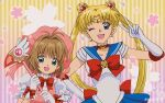 2girls ;d back_bow beret bishoujo_senshi_sailor_moon blonde_hair blue_eyes blue_sailor_collar blue_skirt bow bowtie brown_hair cardcaptor_sakura cherry_blossoms choker commentary_request crescent crescent_earrings crossover double_bun dress earrings elbow_gloves eyebrows_visible_through_hair fuuin_no_tsue gloves green_eyes hair_ornament hand_on_hip hat holding jewelry kinomoto_sakura leotard long_hair looking_at_viewer magical_girl miniskirt multiple_girls one_eye_closed open_mouth pink_dress pink_headwear pleated_skirt puffy_short_sleeves puffy_sleeves red_bow red_choker red_neckwear sailor_collar sailor_moon sailor_senshi_uniform shirt short_hair short_sleeves skirt smile standing striped striped_background tam_(tam0804) texture tiara tsukino_usagi twintails twitter_username v vertical_stripes white_gloves white_leotard white_shirt