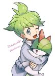 1boy ;d artist_name bangs commentary_request eyebrows_visible_through_hair gen_3_pokemon green_hair grey_eyes holding holding_pokemon lobolobo2010 long_sleeves one_eye_closed open_mouth pokemon pokemon_(creature) pokemon_(game) pokemon_oras ralts sleeves_past_wrists smile tongue translation_request wally_(pokemon) watermark