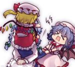 >_< 3girls apron bangs bat_wings blonde_hair blush braid breasts center_frills closed_eyes clothes_grab commentary_request crystal dress face_hug fang flandre_scarlet frilled_dress frilled_shirt_collar frills frown green_ribbon hair_ribbon hat hat_ribbon izayoi_sakuya long_sleeves maid_apron medium_breasts mob_cap multiple_girls on_person one-hour_drawing_challenge open_mouth puffy_short_sleeves puffy_sleeves purple_hair red_ribbon red_skirt red_vest remilia_scarlet ribbon short_hair short_sleeves siblings side_ponytail silver_hair simple_background sisters skirt touhou tress_ribbon twin_braids unime_seaflower vest waist_apron white_apron white_background white_headwear wings wrist_cuffs