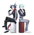 2boys aqua_hair archer_(pokemon) bangs belt black_footwear black_gloves black_hair black_pants black_vest buttons card commentary_request crossed_legs gloves grey_pants grey_shirt grey_vest grimsley_(pokemon) hand_up holding holding_card jacket lobolobo2010 long_sleeves looking_at_viewer male_focus multiple_boys pants playing_card pokemon pokemon_(game) pokemon_bw pokemon_lgpe red_scarf scarf shirt shoes sitting smile vest