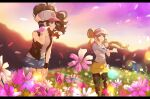 2girls ankea_(a-ramo-do) antenna_hair baseball_cap black_legwear black_vest black_wristband blue_eyes blurry blurry_background brown_hair closed_mouth denim denim_shorts eyelashes field floating_hair flower flower_field hand_on_headwear hand_on_own_thigh hat highres hilda_(pokemon) leaning_forward legwear_under_shorts letterboxed long_hair multiple_girls outdoors pantyhose petals pink_flower pokemon pokemon_(game) pokemon_bw pokemon_bw2 raglan_sleeves rosa_(pokemon) shirt short_shorts shorts sidelocks sky sleeveless sleeveless_shirt sleeves_past_elbows smile sparkle standing stretch twilight twintails two-tone_headwear vest visor_cap wristband yellow_shorts
