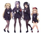 4girls absurdres ahoge alternate_costume arm_at_side armband bangs black_bow black_footwear black_gloves black_hair black_serafuku black_shirt black_skirt blonde_hair blush bow breast_hold breasts brown_legwear card commentary_request double_bun eyepatch fischl_(genshin_impact) full_body genshin_impact gloves green_eyes hair_bow hair_ornament hand_on_hip hand_up hat highres holding holding_card holding_hair keqing klee_(genshin_impact) large_breasts loafers long_hair looking_at_viewer md5_mismatch medium_breasts mona_(genshin_impact) multiple_girls neckerchief open_mouth pantyhose partially_fingerless_gloves pleated_skirt pointy_ears purple_hair red_eyes red_headwear revision sailor_collar school_uniform serafuku shaded_face shirt shoes simple_background single_glove skirt skirt_hold smile socks stuffed_animal stuffed_toy torriet twintails two_side_up violet_eyes white_background