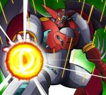 drill energy_ball gamiani_zero getter_robo looking_at_viewer mecha one_eye_covered open_hand shin_getter-1 shin_getter_robo solo super_robot wings yellow_eyes