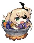1girl :d bangs black_dress blonde_hair brown_sleeves carrot chibi chicken_leg commentary_request detached_sleeves dress eyebrows_visible_through_hair eyepatch fire fischl_(genshin_impact) genshin_impact gloves green_eyes hair_ornament hair_over_one_eye hands_up in_container in_pot korean_commentary kutata long_hair long_sleeves looking_at_viewer mushroom open_mouth pot purple_gloves simple_background single_glove smile solo two_side_up w white_background
