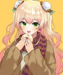 1girl :d absurdres baozi blonde_hair blush bun_cover colored_tips commentary double_bun fang food green_eyes highres hololive long_hair looking_at_viewer momosuzu_nene nail_polish open_mouth orange_background pink_hair red_nails scarf simple_background smile solo tagosaku_(tatsukiuma0329) upper_body virtual_youtuber