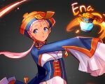 1girl alternate_costume blue_eyes blue_legwear capri_pants facial_tattoo fire fire_emblem fire_emblem:_path_of_radiance fire_emblem_heroes gradient gradient_background halloween high_heels jack-o'-lantern jiangshi knees_together_feet_apart lantern light_particles long_hair long_sleeves oversized_clothes pants pink_hair pointy_ears ponytail pumpkin red_footwear silvercandy_gum solo tassel tattoo very_long_hair