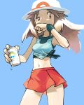 1girl blue_background brown_eyes brown_hair commentary_request donnpati eyelashes fingernails floating_hair half-closed_eye hat highres holding leaf_(pokemon) long_hair looking_to_the_side navel pleated_skirt pokemon pokemon_(game) pokemon_frlg red_skirt shiny shiny_skin shirt skirt sleeveless sleeveless_shirt tied_shirt wet white_headwear wristband