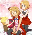 1boy 2girls ash_ketchum black_legwear blonde_hair blush bonnie_(pokemon) brown_eyes clenched_teeth closed_eyes closed_mouth commentary_request crossdressing eyelashes hair_brush hair_brushing hat holding holding_clothes holding_hat kanimaru light_brown_hair multiple_girls pleated_skirt pokemon pokemon_(anime) pokemon_xy_(anime) red_skirt serena_(pokemon) shirt short_hair signature skirt sleeveless sleeveless_shirt smile sweat teeth thigh-highs watermark