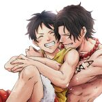 2boys ^_^ backlighting bead_necklace beads black_hair blush closed_eyes freckles highres hug hug_from_behind jewelry male_focus monkey_d_luffy multiple_boys necklace one_piece portgas_d_ace shirtless short_hair shoulder_tattoo sleeveless smile tattoo teeth warori_anne white_background