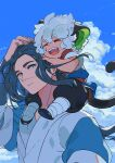 2boys animal_ears aqua_eyes black_footwear black_hair blue_sky carrying cat_ears cat_tail closed_eyes clouds cloudy_sky eyebrows_visible_through_hair highres long_hair long_sleeves luoxiaohei maruco multiple_boys open_mouth short_sleeves shoulder_carry sky smile tail the_legend_of_luo_xiaohei upper_body white_hair wuxian_(the_legend_of_luoxiaohei)