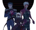 1girl 2boys archer armor artoria_pendragon_(all) blood blood_on_face blue_hair cu_chulainn_(fate)_(all) fate/stay_night fate_(series) heaven's_feel injury looking_at_viewer missing_limb multiple_boys one_eye_closed red_eyes redmin_0415 saber saber_alter shoulder_armor spoilers torn_clothes white_hair