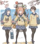 +_+ 3girls backpack bag bangs black_footwear black_legwear blue_eyes blue_hair blue_sailor_collar blue_skirt blue_sky book bottle branch brown_hair carrying cellphone cherry_blossoms closed_eyes closed_mouth commentary day eyebrows_visible_through_hair holding holding_book instrument iwauchi_tomoki kagamihara_nadeshiko lamp light_frown loafers long_hair long_sleeves looking_at_viewer miniskirt multiple_girls neckerchief open_mouth outdoors pantyhose phone pink_hair plaid plaid_skirt pleated_skirt sailor_collar saitou_ena school_bag school_uniform shadow shima_rin shoes short_hair skirt sky smartphone smile standing string_of_flags stuffed_animal stuffed_toy sweater teddy_bear translated ukulele v-neck violet_eyes water_bottle white_neckwear yellow_sweater yurucamp
