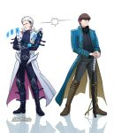 2boys artist_name bangs black_eyes black_footwear black_pants black_shirt black_vest blue_coat blue_eyes boots brown_footwear brown_hair card closed_mouth coat commentary cosplay crossover devil_may_cry devil_may_cry_3 duel_disk full_body hair_between_eyes hair_slicked_back hands_on_hilt headset highres holding holding_card kaiba_seto kaiba_seto_(cosplay) katana knee_boots lightning_glare long_coat long_sleeves looking_at_another male_focus multiple_boys pants scabbard sheath sheathed shirt short_hair sideways_glance simple_background standing stelarpidgin sword trench_coat vergil vergil_(cosplay) vest weapon white_background white_coat white_hair yamato_(sword) yu-gi-oh! yu-gi-oh!_duel_monsters yu-gi-oh!_the_dark_side_of_dimensions