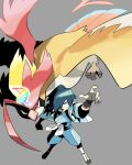 1boy aqua_hair arm_up blue_jacket blue_pants commentary_request donnpati falkner_(pokemon) from_above gen_1_pokemon grey_background gym_leader highres jacket looking_at_viewer male_focus mega_pidgeot mega_pokemon open_mouth pants pidgeot pokemon pokemon_(creature) pokemon_(game) pokemon_hgss shoes teeth wristband