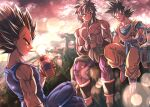 3boys :d black_eyes black_hair blue_sash boots bracer broly_(dragon_ball_super) chest crossed_legs dougi dragon_ball dragon_ball_super dragon_ball_super_broly drinking drinking_straw expressionless gloves horizon looking_at_another male_focus mattari_illust multiple_boys muscle open_mouth pants purple_pants sash scar sitting sky smile son_goku spiky_hair talking twitter_username vegeta white_gloves